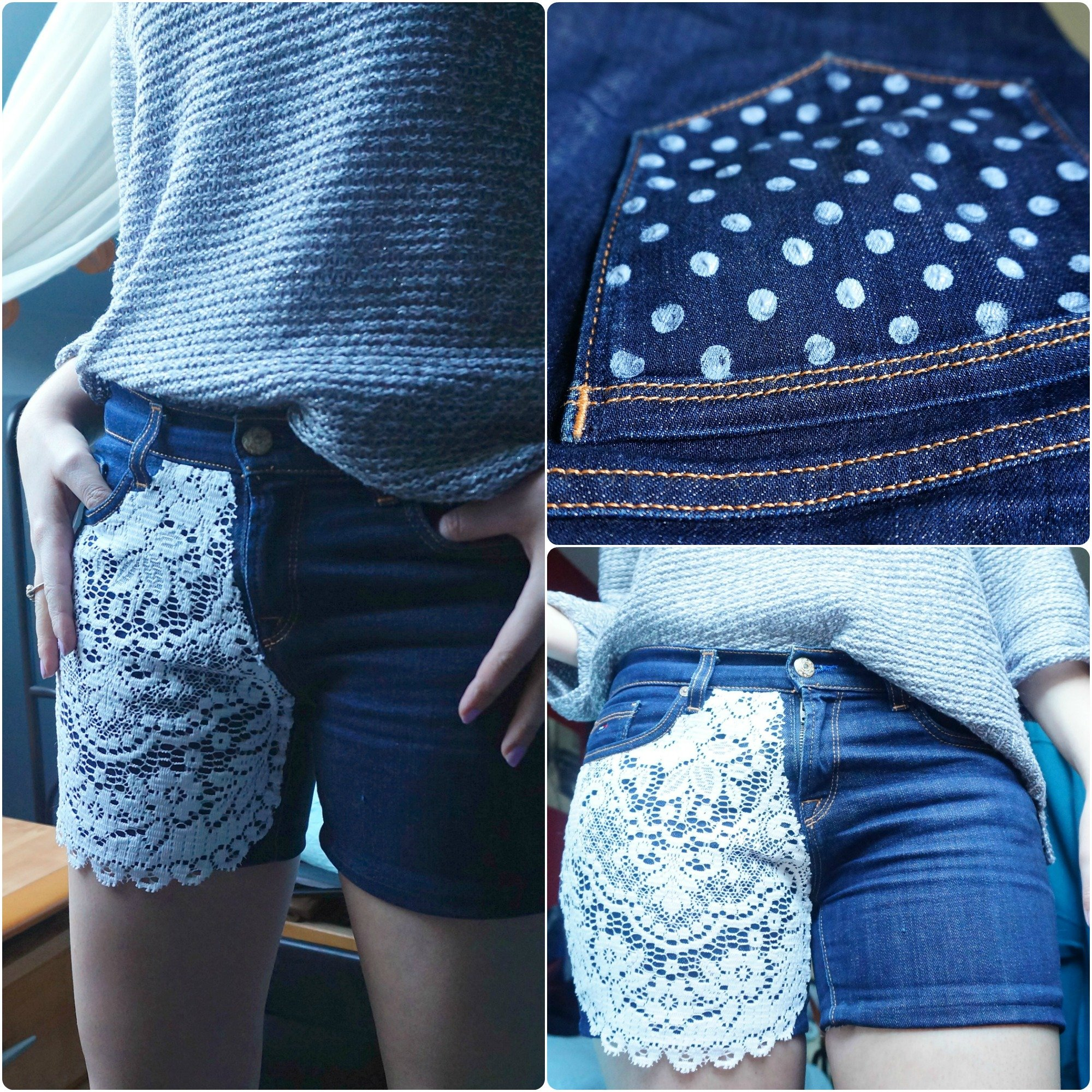 DIY upcycled Tommy Hilfiger-jeans shorts