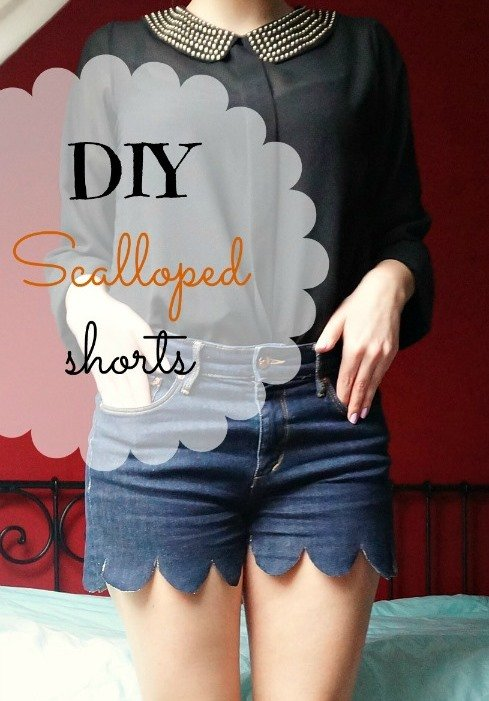 DIY Scalloped Jeans Shorts
