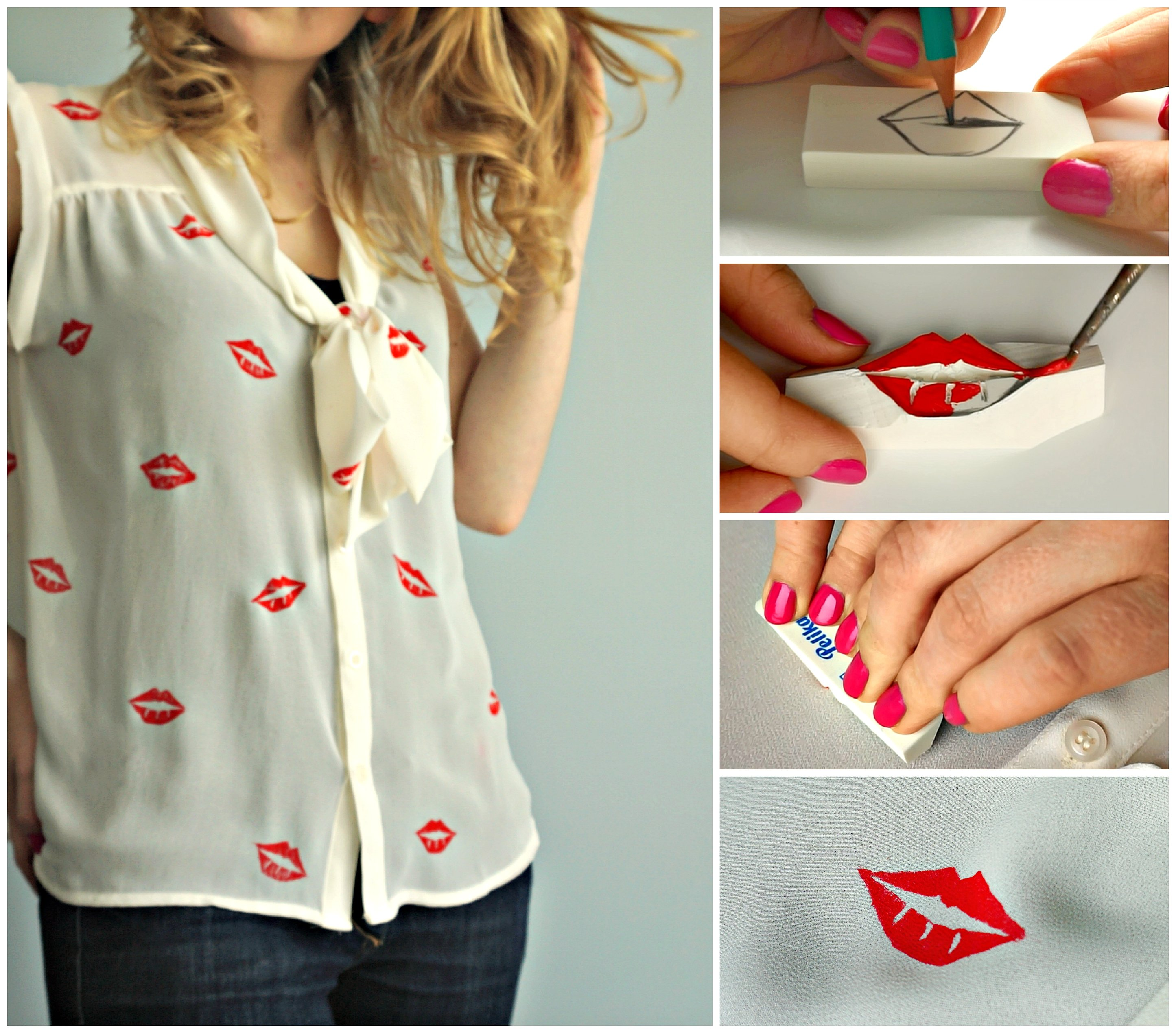 Diy lip stencilled shirt tutorial the makeup dummy for Diy t shirt design