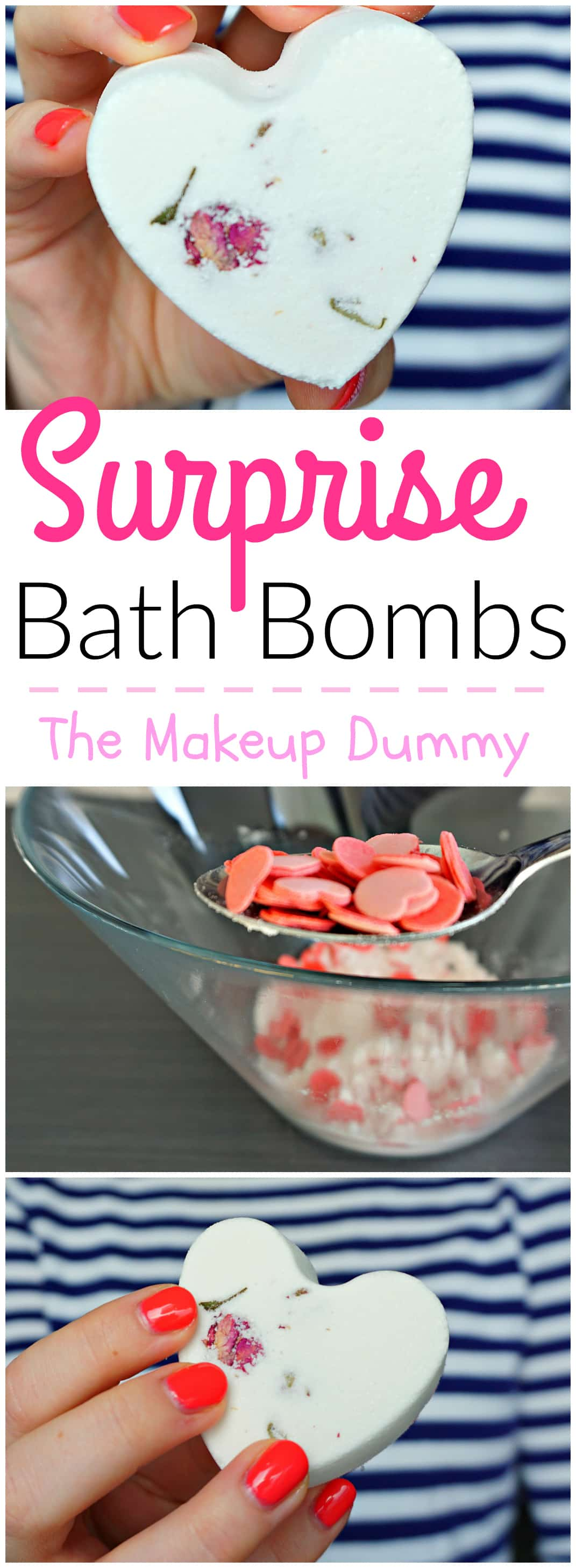 Tutorial on How To make your own dupe Hidden surprise Bath Fizzies with bath confetti - just like the bath bombs from LUSH DIY by The Makeup Dummy