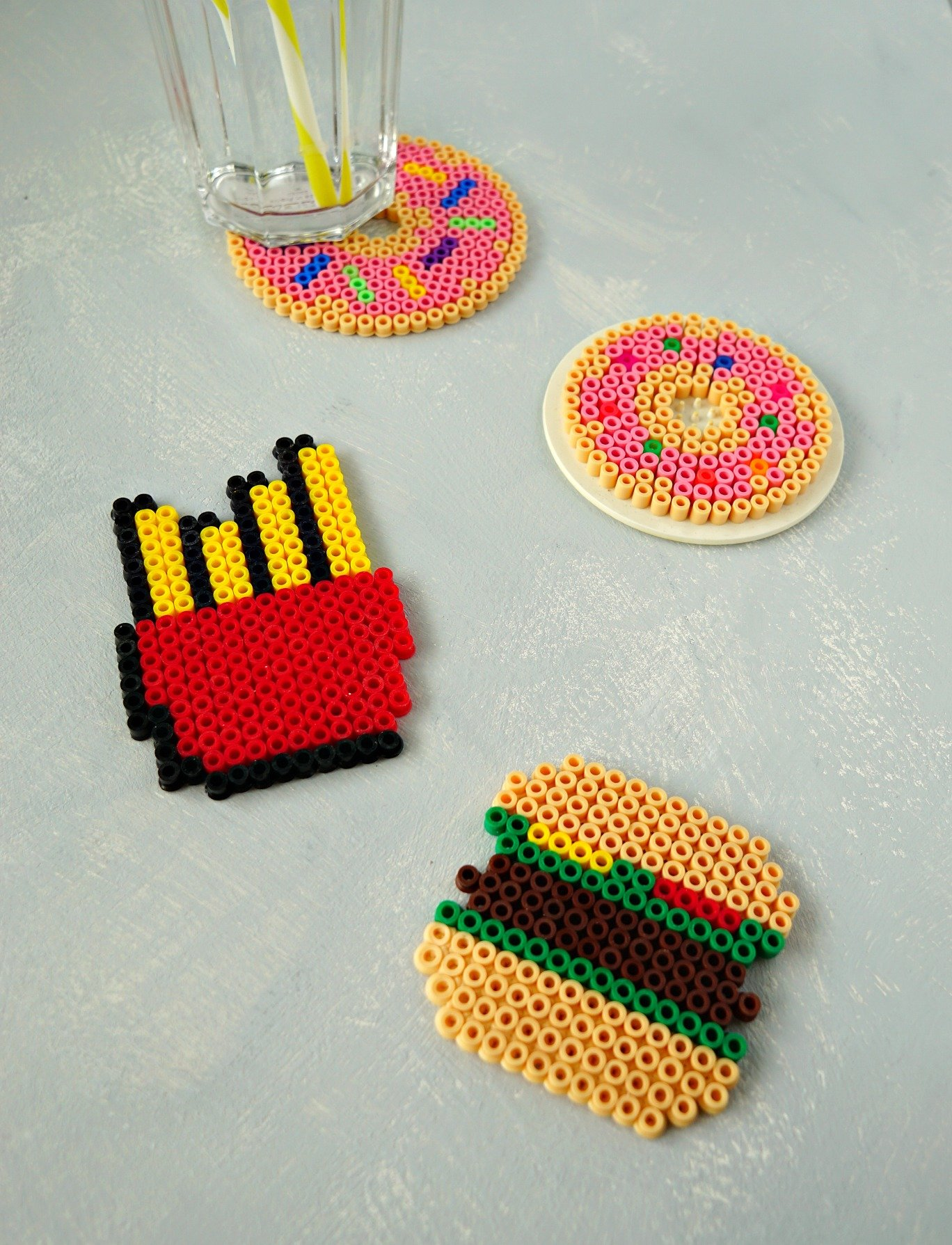DIY Fast Food Perler Bead Coasters - The Makeup Dummy
