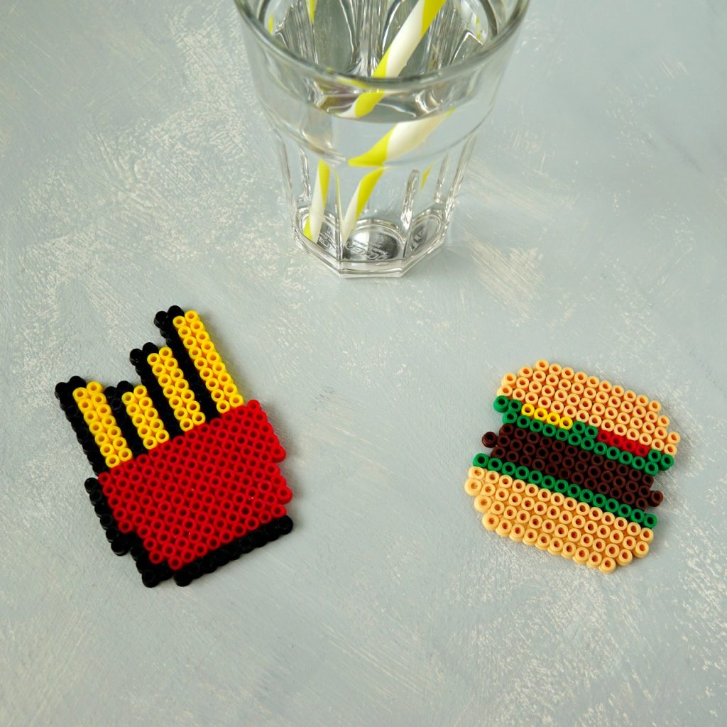 50 DIY Beauty and Craft Tutorials to make this Summer: Perler Bead Coasters perfect for a BBQ.