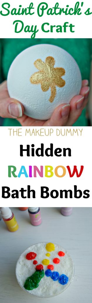 "This is so cute and very easy to make! How to make a DIY Hidden Rainbow Bath Bomb + a Review of the food grade liquid soap dye coloring kit from ""How To Look PRETTY"" Great gift or craft idea for Saint Patrick's Day! Tutorial by The Makeup Dummy #diybeauty #diygifts #diybathbombs"