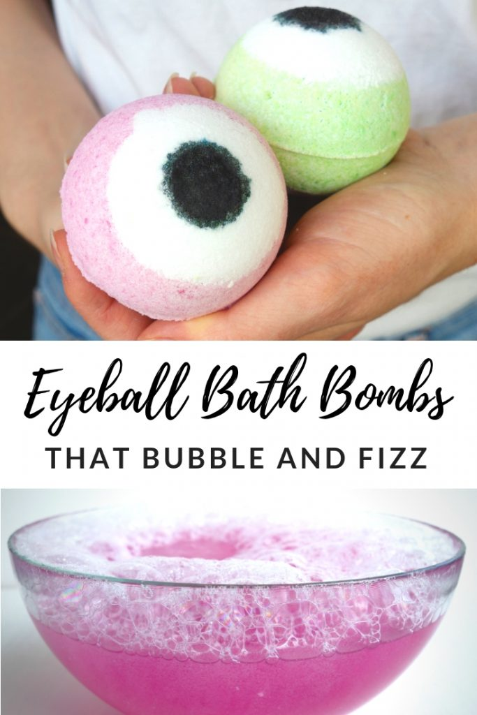 This is the PERFECT HALLOWEEN CRAFT IDEA! This is creepy and cute at the same time. Follow this easy step by step to tutorial to make your own Halloween inspired Eyeball Bath Bombs and watch the video to see them bubble and fizz! #diybathbombs #diygiftidea #halloweencrafts #activityideas