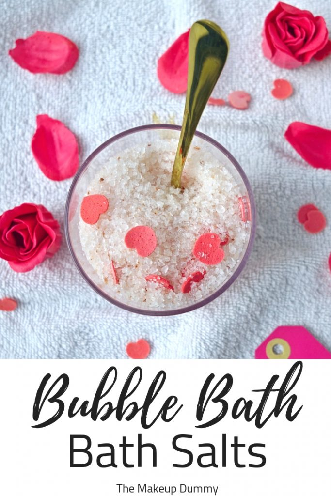How to make your own easy, fun and cheap Bubble Bath Salts for Valentine's Day or Galentine's Day. Great gift idea for adults! #diybeauty #naturalbeauty #homemadebeauty #handmadebeauty #craftideas #valentinesdayideas #valentinesdaygifts
