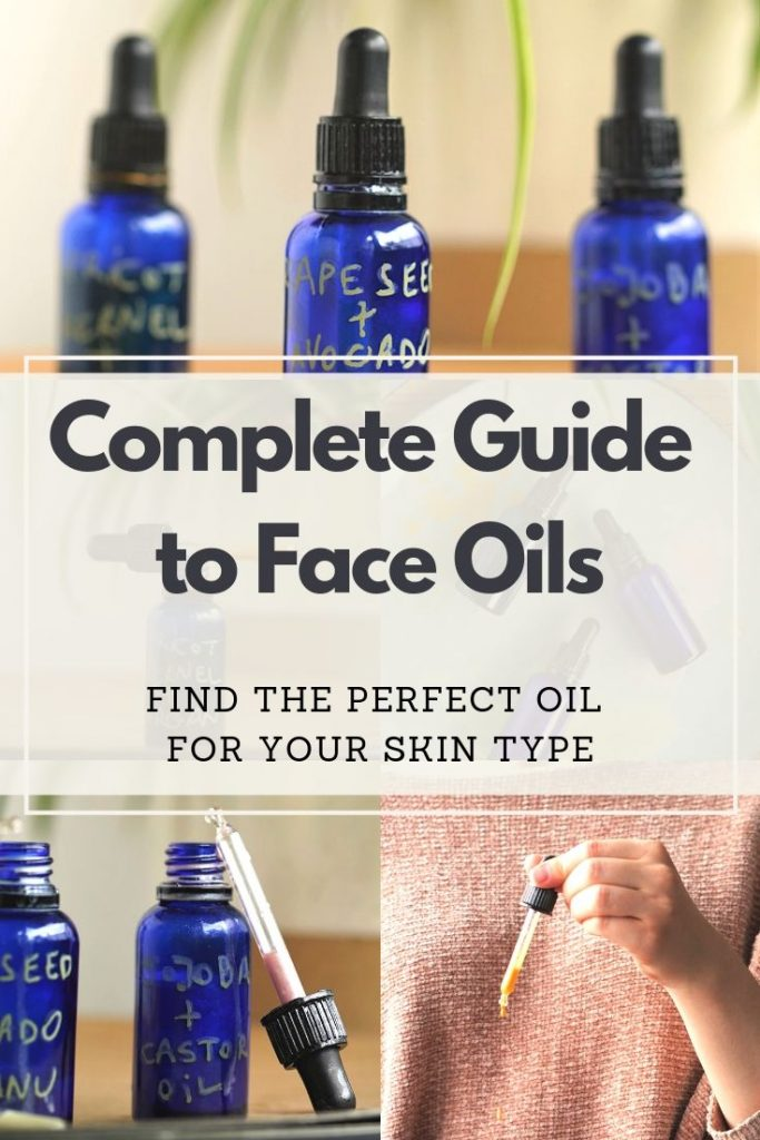 This easy and complete carrier oil guide helps you choose the best face oils for your skin type, whether you have dry, oily or combination skin. With an easy DIY formula you can make your own custom carrier oil facial blend at home! #diybeauty #homemadebeauty #nontoxicbeauty #essentialoils #naturalbeauty #naturalskincare #veganskincare #veganmakeup