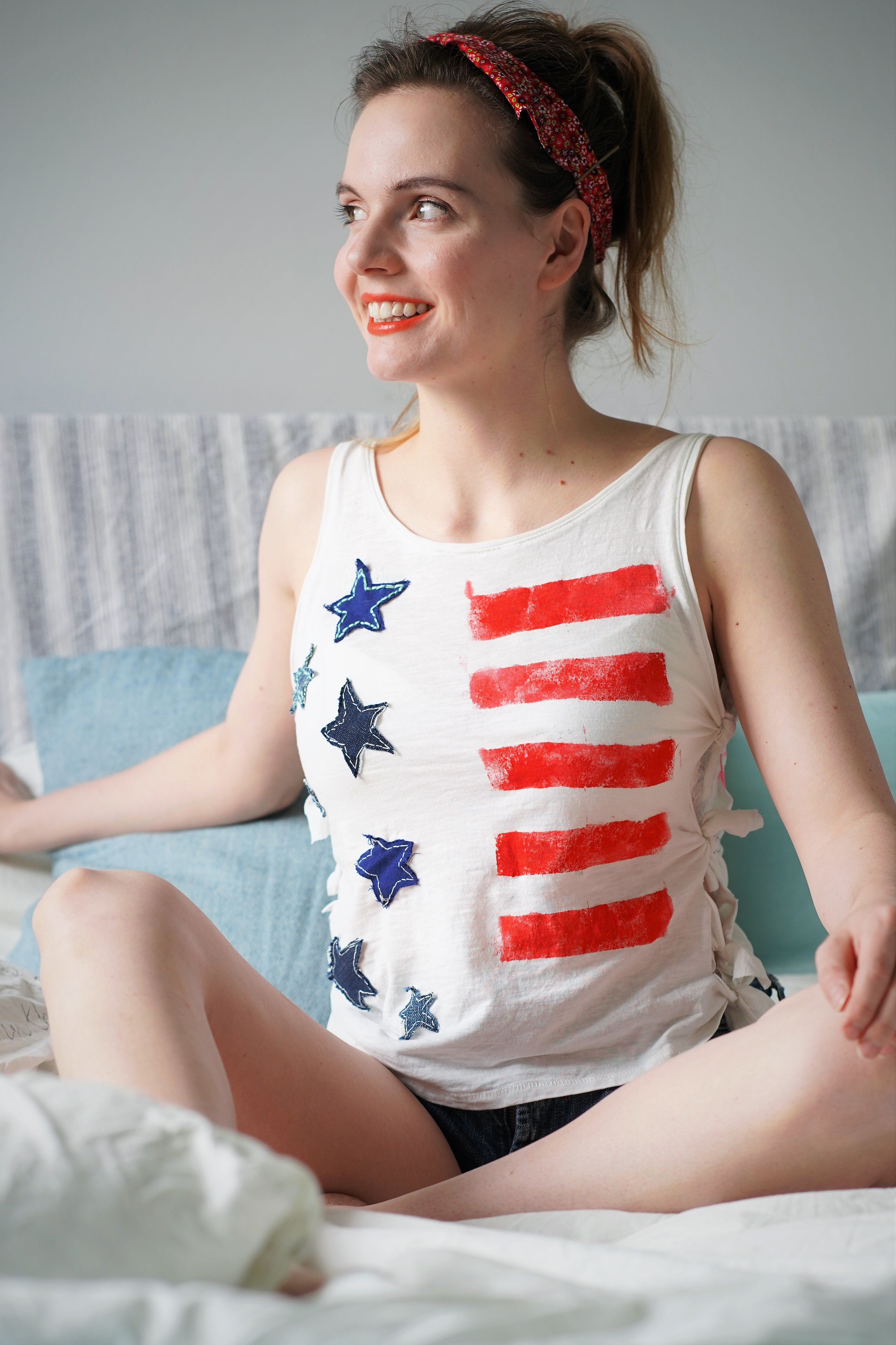 DIY 4th of July Shirt with thrift fabrics