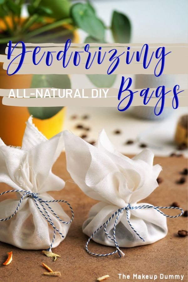 DIY Deodorizing bags with baking soda to deodorize your shoes, closets, trash cans, refrigerator and so much more! These are so easy to make with simple ingredeints you already have at home. To go completely all natural, I used dried orange zest and coffee beans for a natural fragrance and to give you a diy tutorial version without essential oils.